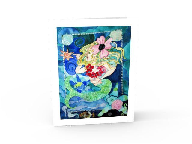 Curious Mermaid  greeting card