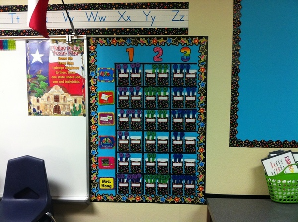 What a cute and colorful way to display class centers! This clever teacher blogger mixed CTPs  Poppin Patterns letters, borders, and Centers Mini Bulletin Board Set with Dots on Black Library Pockets!