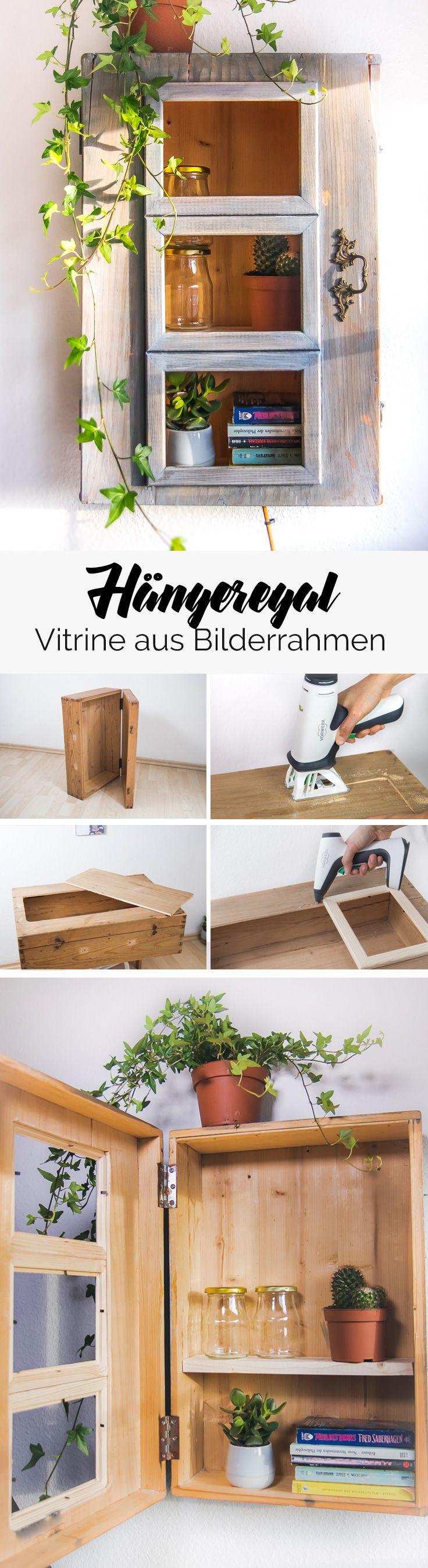 Hängeregal selber basteln aus einem alten Koffer und ein paar Ikea Bilderrahmen. Nicht nur aus einem alten Koffer sondern auch einem alten Schrank oder einer Kommode lassen sich tolle DIY Möbel gestalten.