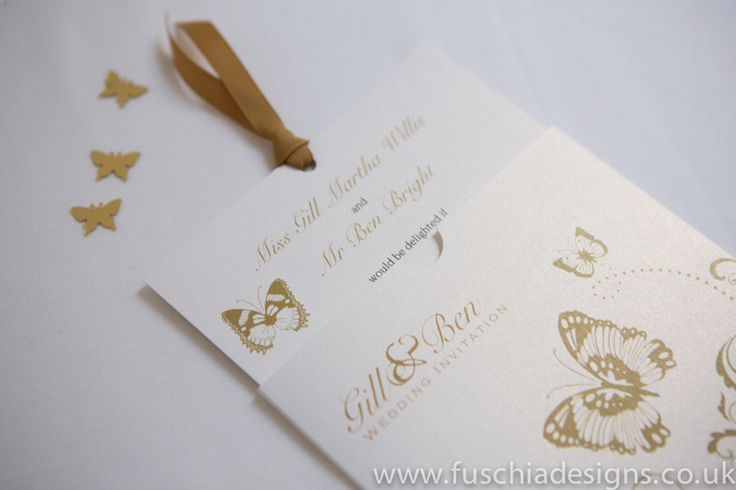 Wedding stationery Stunning butterfly wallet wedding invitations with matching coloured ribbon. www.fuschiadesigns.co.uk