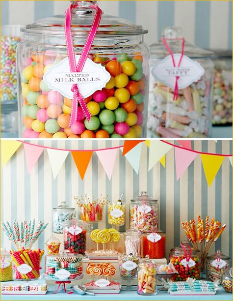 Candy Bar -- talk about sugar overload but cute table setup.