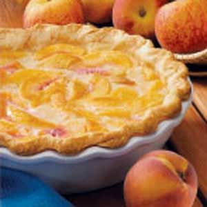Easy Peach Pie: 6 medium ripe peaches, peeled and sliced (substitute canned peach slices?),  1 unbaked deep-dish pastry shell (9 inches),  1/2 cup sugar,  3 tablespoons all-purpose flour,  1/4 teaspoon salt,  3/4 cup heavy whipping cream