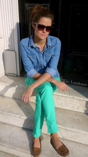 bright pants. denim shirt.