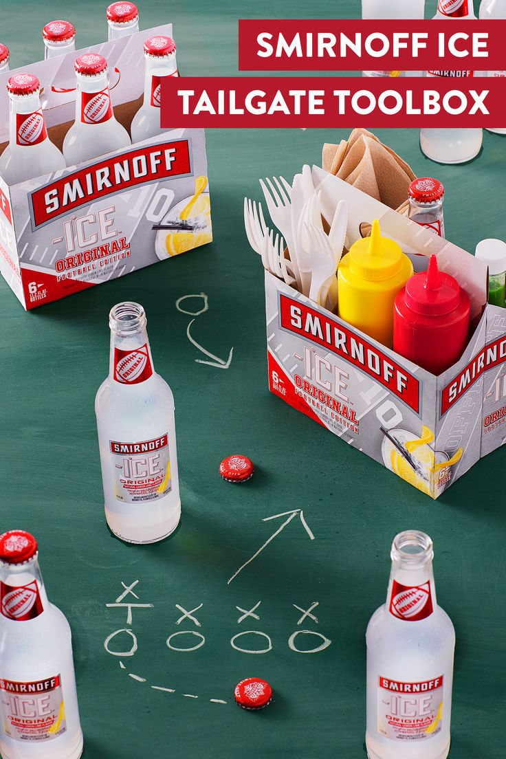 Tailgate Hack Alert: The Smirnoff Ice Football Edition 6 pack carrier can help store and organize all of your game day cookout utensils and condiments. Now who's thirsty?   INSTRUCTIONS: Remove Smirnoff ICE and use packaging to carry your tailgate essentials. Enjoy the game and your chilled Smirnoff Ice!