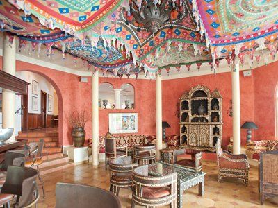 The hotel bar at La Samanna in St. Martin. Cool Moroccan vibes.