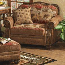 pine lodge chair and a half - Lodge Furniture