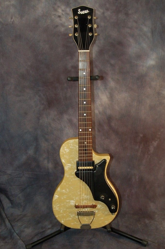Used Guitars for Sale – 1953 Supro Ozark Jet Mother of Toilet Seat Guitar..SOLD!!!