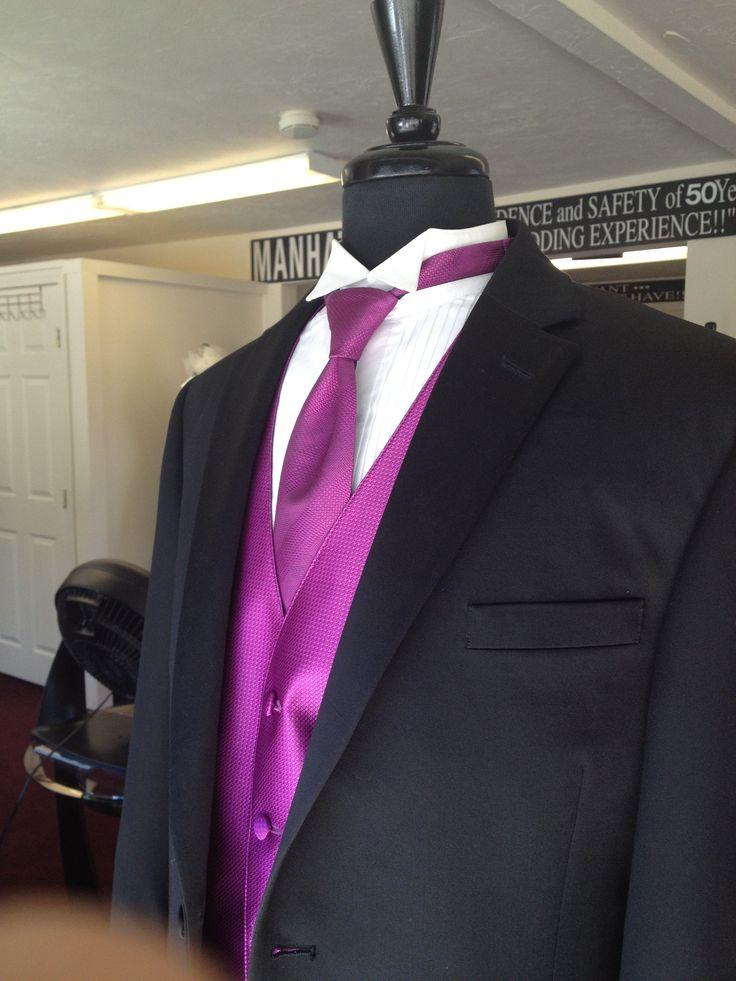 black tux with a purple tie purple wedding