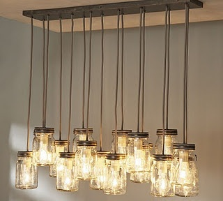 Pottery Barn inspired Mason Jar Chandelier! Would LOVE to make this for the dining room! So much character!