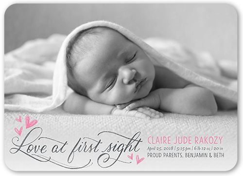 Birth Announcement: Love At First Sight, Rounded Corners, Pink