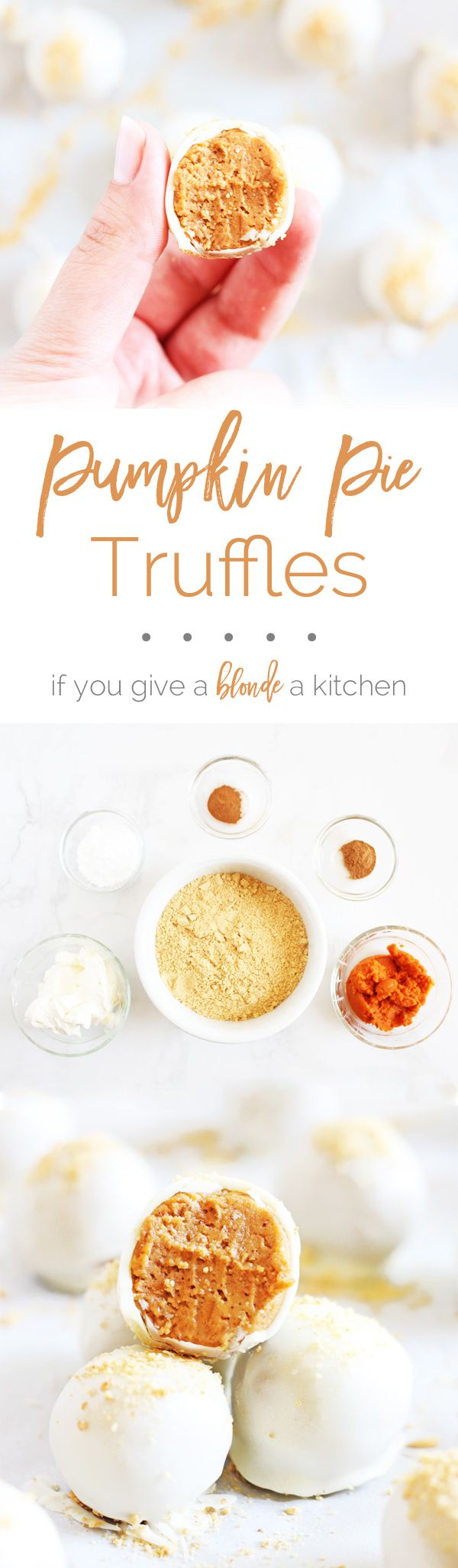 No bake pumpkin pie truffles are made with cream cheese and pumpkin pie spice. Recipe comes with a how-to video!   www.ifyougiveablondeakitchen.com