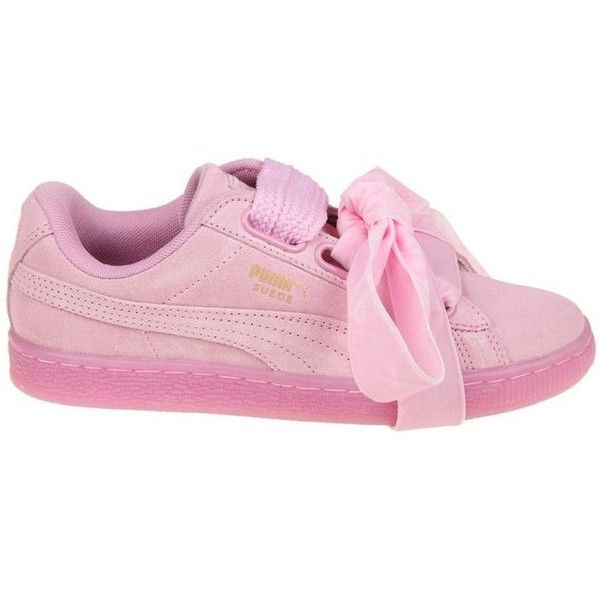 Suede Heart Reset Sneakers Donna (€74) ❤ liked on Polyvore featuring shoes, sneakers, pink, womenshoessneakers, puma sneakers, puma trainers, puma shoes, pink bow shoes and heart sneakers