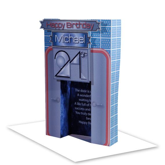 3D 21st Happy Birthday card for boy or girl personalised edit name 21 birthday card for son daughter nephew door opens to reveal the message