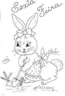 desenho de coelhinha na horta para pintar