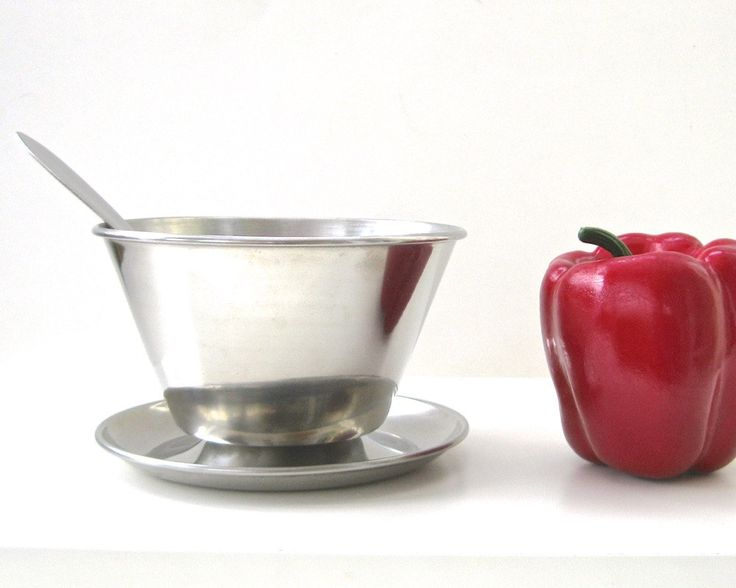Mid Century Stainless Gravy Boat with Ladle • Danish Modern Sauce Server • Gravy Sour Cream Salad Dressing Toppings by KatesAtticBargains on Etsy