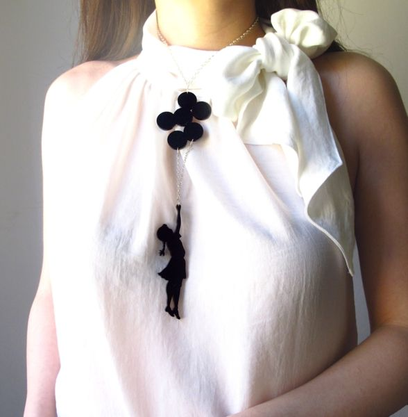 Collane con pendenti - Collana nera Bimba con palloncini - un prodotto unico di Mathysa su DaWanda