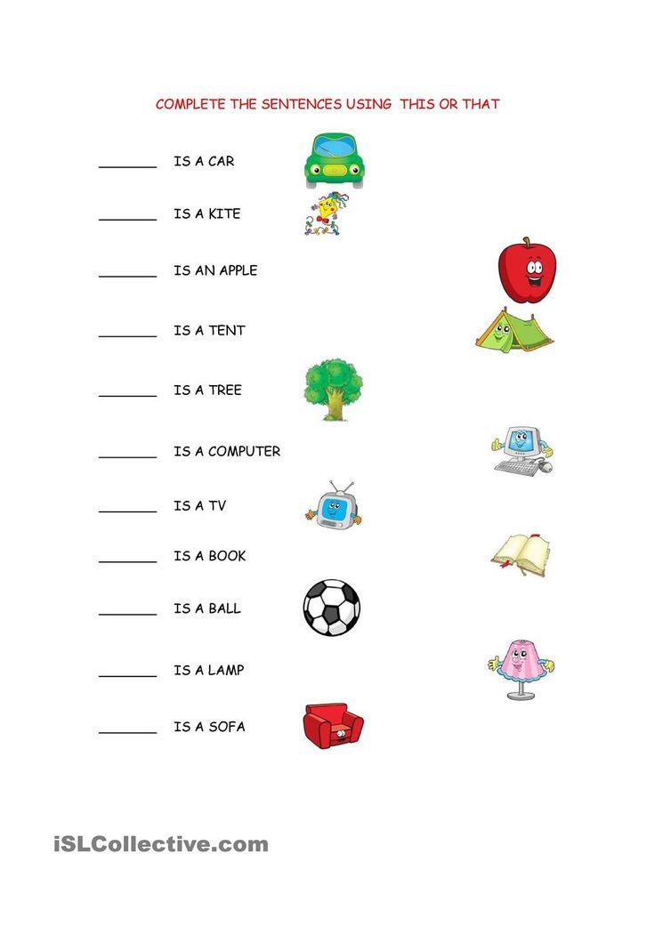 These Those Worksheet Kindergarten