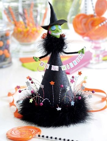 Halloween ideas - How to make a witches hat / table centre piece