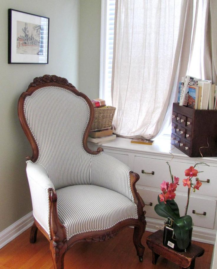 Ticking Stripes on a Victorian Chair @ Studio, Garden & Bungalow