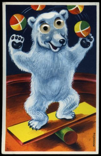 Vintage Post Card Anthropomorphic Bear Juggling Balls Signed Michaelis