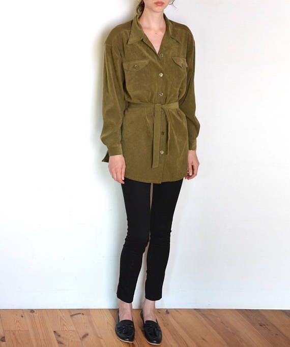 90's suedette belted blouse olive green khaki blouse