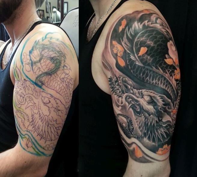 Se você possui alguma tatuagem da qual não gosto ou está enjoado, eis aqui a sua salvação. Basta encontrar um bom tatuador, que ele some com a anterior. É impressionante!