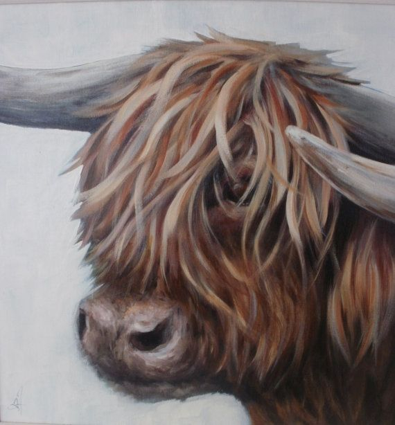 Original Painting Highland Cow acrylic on board by AnneOfManyArts, £250.00