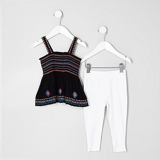 Two piece set Woven fabric Shoulder straps Shirred and embroidered detail Sleeveless White leggings Elasticated waistband