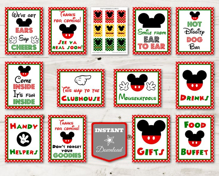 Christmas Mickey Mouse Birthday Party Ideas: Printable 8x10 Sign Package for your party! Use promo code PINTEREST10 to save 10% off purchase. ETSY