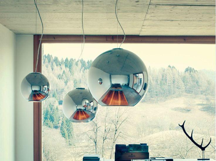 lampadario magda : Lampada a sospensione in vetro soffiato metallizzato Collezione Globo ...
