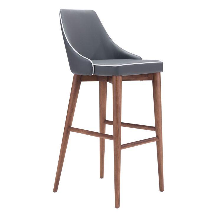 Moor Bar Chair Dark Gray Zuo Modern Contemporary Bar Height (28 To 36 Inch) Bar Stools Kit