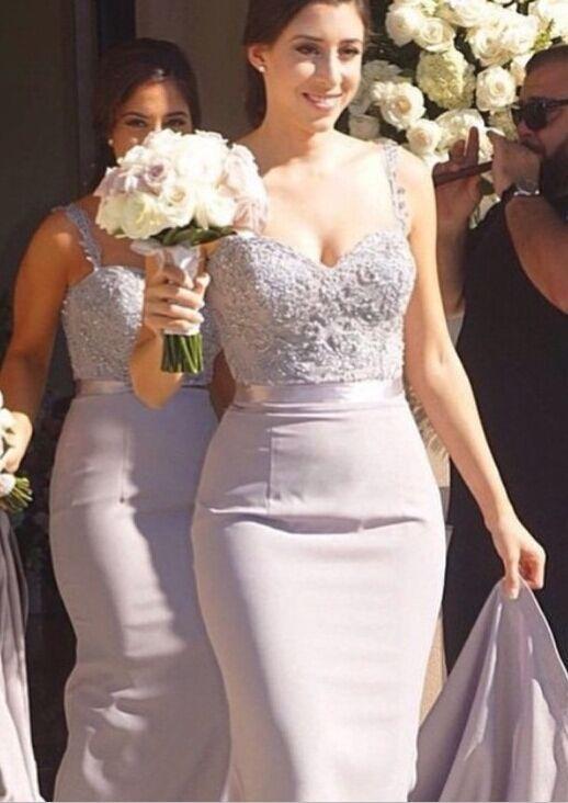 Mermaid Bridesmaid Dresses Lace Beading Straps Bridal Party Maid of Honor Dresses