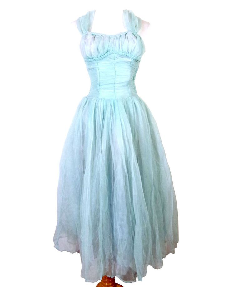 vtg 50s RoCkAbILLy Light Blue Tulle Circle Dress Prom Homecoming pinup XS/S