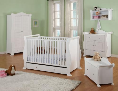 our classic hush hush white nursery set adds a touch of luxury to your new arrivals room the sleigh cotbed is great value adapting into a bed as your