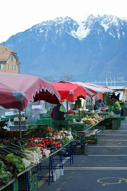 Farmers Market in Vevey, Switzerland.  Vevey is a town in the canton Vaud, on the north shore of Lake Geneva, near Lausanne.