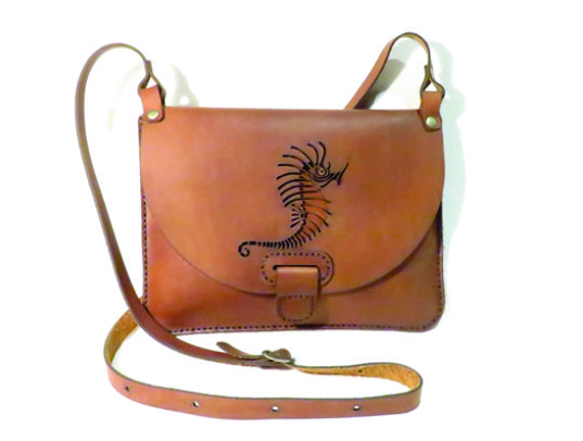SEAHORSE 25cm X 18cm CROSSBODY CLUTCH BAG Genuine leather, Laser cut, Hand stitched