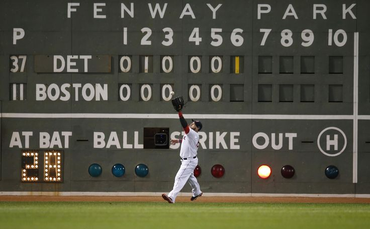 "Boston Red Sox's Jonny Gomes plays a ball off the ""Green Monster"" hit by Detroit Tigers' Prince Fielder in the sixth inning as Fielder hits a double during Game 2 of the American League baseball championship series Sunday, Oct. 13, 2013, in Boston. (AP Photo/Elise Amendola)"