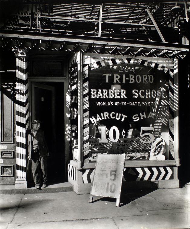 Tri-boro Barber School, 264 Bowery, Manhattan. (October 24, 1935).  Changing New York / Berenice Abbott