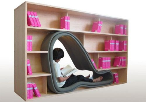shelf and reading nook pod