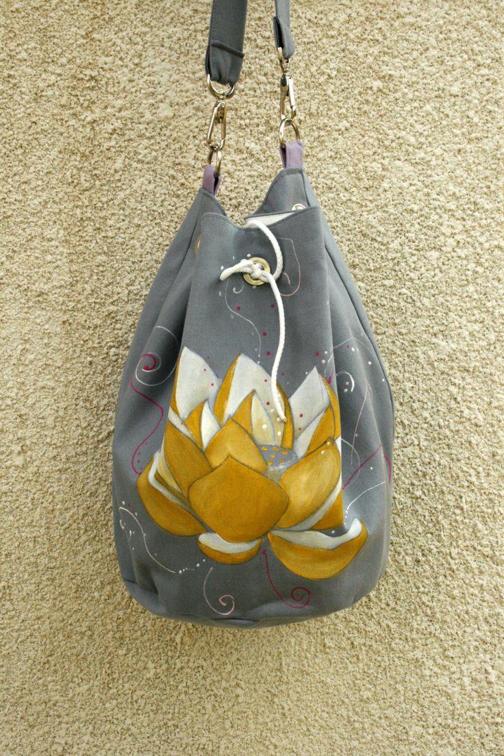 Vegan Hand made Gray Cotton Lotus Shoulder Bag by AtelierGOBI on Etsy