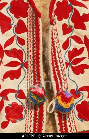 Close up of traditional Slovak folk embroidery on a waistcoat at Kezmarok Slovakia J Strachan