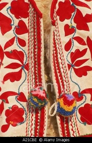 Close up of traditional Slovak folk embroidery on a waistcoat at Kezmarok Slovakia J Strachan