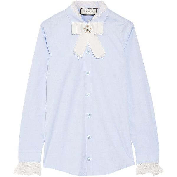 Gucci Bow-embellished lace-trimmed cotton-poplin shirt ($1,155) ❤ liked on Polyvore featuring tops, gucci, shirts, shirt top, white tops, sky blue shirt and white oxford shirt