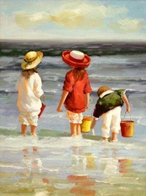 pinturas al oleo de marinas precioso con niños en la playa                                                                                                                                                                                 Más