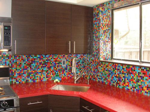 funky mosaic tile backsplash love it pinterest