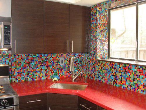Funky mosaic tile backsplash More