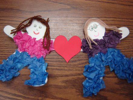 Best friends craft. Have them divide into pairs. Each child portrays the other child in a paper doll form. They connect the dolls with a heart, sports ball, or just holding hands.