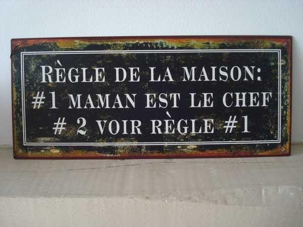 """Plaque murale humoristique """"Règle de... http://www.decoacoeur.com/objets-deco/2000-plaque-murale-humoristique-regle-de-la-maison.html"""
