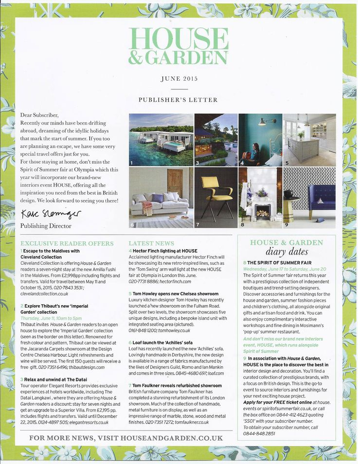 Publisher's letter to subscribers of House & Garden June 15