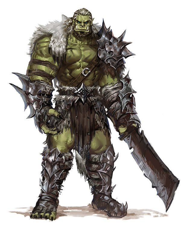 Orc Fighter Barbarian Chief - Pathfinder PFRPG DND D&D d20 fantasy